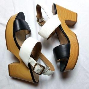 Aldo block clog heels 7 open toe ankle strap black